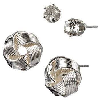Crystal Knot Earring Duo - Silver