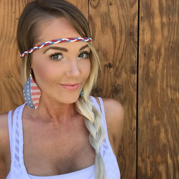 Bohemian Patriotic Fourth of July Braided Red, White, Blue Suede Leather Cord Headband Fashion Woman Girl  Wrap w/ Adjustable Ribbon Ties