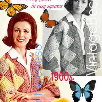 EASY Jacket CROCHET Pattern Squares Jacket Crochet Pattern Instant Download PdF Pattern Vintage 1960s Crochet Pattern Granny Square Style