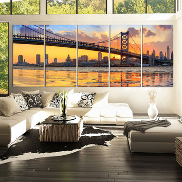 Extra Large Wall Art Canvas Print Ben Franklin Bridge and Philadelphia Skyline by Night + Philadelphia Canvas Art Printing