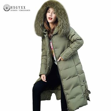 4XL Big Fur Hooded Green Military Parka Women Quilted Coat Winter Down Cotton Puffer Jacket 2017 Slim Long Warm Outwear Oka618