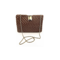 Brown Woven Vinyl Purse With Optional Chain Strap