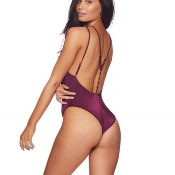 Beach Bunny Ireland Plum Color One Piece Ring Accent Swimsuit Swimwear (Other Colors Available)