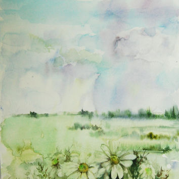 Original Watercolor Painting, Abstract Landscape with Daisies, Green, Rain, Nature Art, Watercolour Art