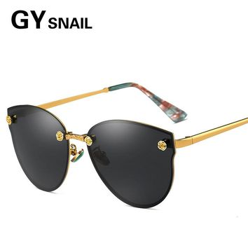 GY SNAIL Brand Vintage Style Sunglasses Men Flat Lens Rimless Square Frame Women Sun Glasses Oculos PC Travel Polarized Fashion