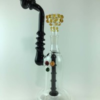 Black & Clear Water pipe with Rasta Dots ART
