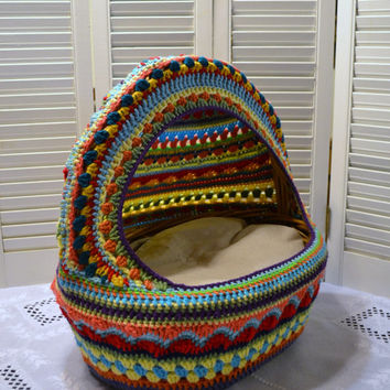 Crochet Cat Cave Pet Bed Upcycled Wicker Basket  Mulit-colored Boho Handmade Littlestsister