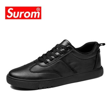 SUROM Mens Shoes Casual Hot sale 2018 Spring New Flats Heel Krasovki Black White Leather Sneakers Lace up Moccasins For Men
