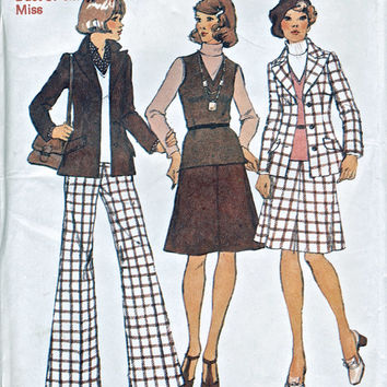 "UNUSED 1973 Misses' Jacket, Top, Skirt And Pants / Flared Trousers - Vintage Sewing Pattern - Simplicity 5987 -  Bust 34"" / 87cm"