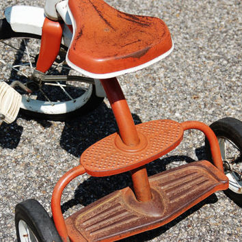 Vintage Hedstrom Tricycle, Mid Century Orange and White Metal Tricycle, 1960s Red and White Tricycle, Photography Prop
