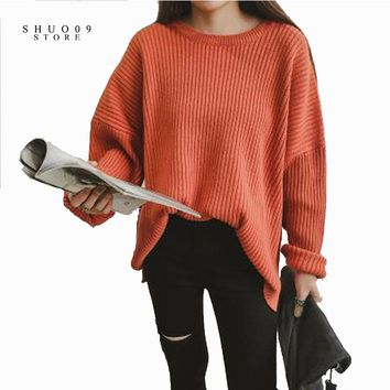 Fashion Autumn Winter Oversized Sweater  Long-sleeve Loose Solid Color Women Sweaters and Pullovers Knitting Sweater