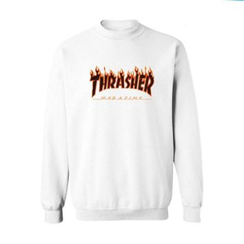 Fall and Winter Thrasher Flame Skateboard Tide Death Hip Hop West Coast Harajuku cotton round neck sweater Black letters-2