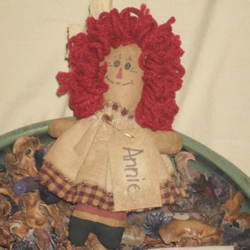 Handmade Primitive Tea Stained Grubby Rag Anne Doll, Tuck, Bowl Filler, Decoration, Ornament