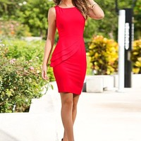 Red (PPRD) Peplum Sheath Dress