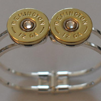 Remington 12 Gauge Shotgun Shell High Polish Brass  Bullet Bracelet (Silver Plate) Spring Loaded Swarovski Crystal