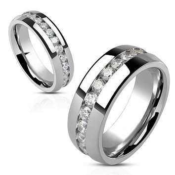 Eternity - Stainless Steel Comfort Fit Ring with Embedded Band of Clear Cubic Zirconias