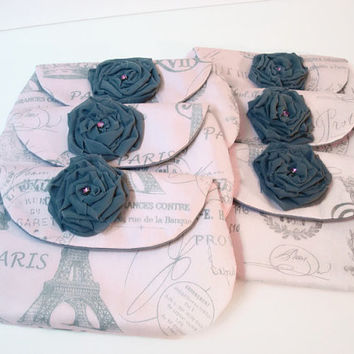 Set of Six (6) Pink and Gray Bridesmaids Clutches/Pink Grey Bridesmaid Clutch Set/Wedding Clutches