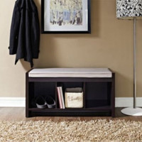 Home Furniture Hollow Core Three Open Cubbies Storage Bench With Comfy Cushion