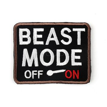 Embroidery Patch Beast Mode On Morale Patch Tactical Emblem Badges Appliques Decorative Embroidered Patches For Clothing