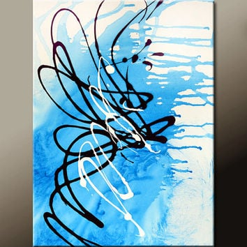 Abstract Art Painting on Canvas 18x24 Original Contemporary Modern Art Paintings by Destiny Womack - dWo - Long Story