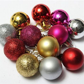 24pcs/ Lot Christmas Tree Decor Diameter 4cm Ball Bauble Hanging Xmas Party Ornament Decorations For Home