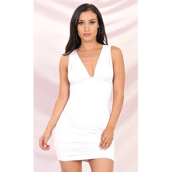 Play The Game White Sleeveless Plunge V Neck Low Back Ruched Bodycon Mini Dress