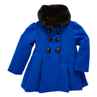 Gifts For Kids | Kids Coats | Girls 2-6X Pea Coat With Fur Collar | Lord and Taylor