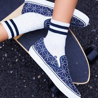 Free People Quilted Denim Classic Slip On Sneaker