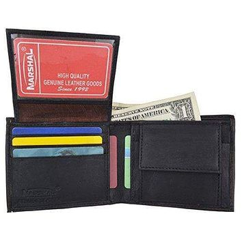 Men's Genuine Leather Bifold ID Credit Card Holder Wallet W/Coin Pouch