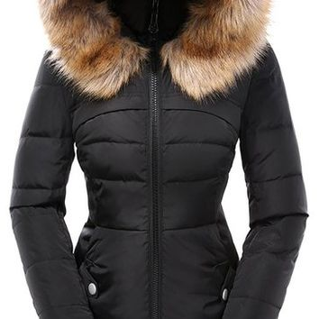 Valuker Women's Down Coat with Hood 90% Down Parka Fur Winter Jacket-Black-M
