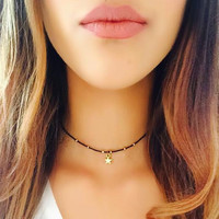 Stunning Gold Plated Star Gazer Choker Necklace