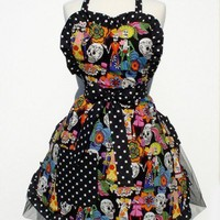 Festive Day of the Dead Apron Deluxe | VintageGaleria - Accessories on ArtFire
