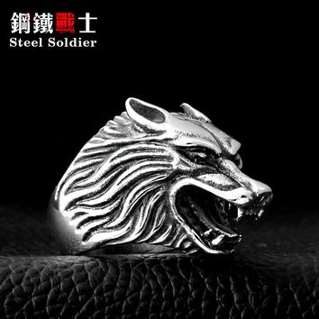 Steel soldier Drop Ship Fashion Jewelry Super Cool Wolf Rings Stainless Steel Punk Biker Man Ring