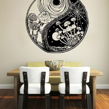 Wall Decal Yin Yang Symbol Geometric Chinese Asian Vinyl Sticker Decals Home Decor Kids Vinyl Sticker Wall Decal Nursery Bedroom Murals Playroom Art (6117)