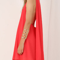 Red Sleeveless V Neck Dress