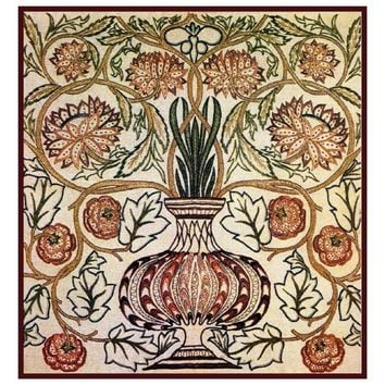 William Morris Burgundy Gold Greens Pot Design Counted Cross Stitch or Counted Needlepoint Pattern