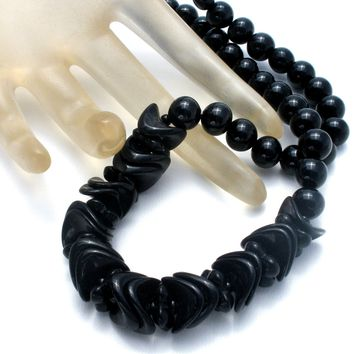 Vintage Black Glass Bead Necklace 19""