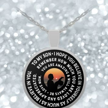 Mother Son Necklace - Inspirational Pendant Design- Cute Gift-