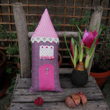 Handmade stuffed house,Fairy Pillow House,Stuffed Toy,Fairy Cottage,Boys,Girls,Children, patchwork, pink, grey, Vintage house