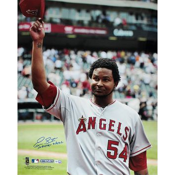 Ervin Santana Angels Road Jersey Salute To The Crowd Vertical 16x20 Photo w No Hitter 72711 Insc (MLB Auth)