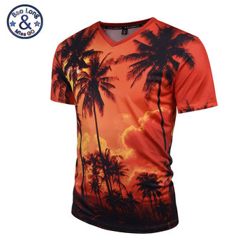 Mr.BaoLong 2017 New Summer Coconut Tree 3D Printed T Shirt Women/Men Harajuku Nightfall Hawaiian Tee Shirt Drop Shipping