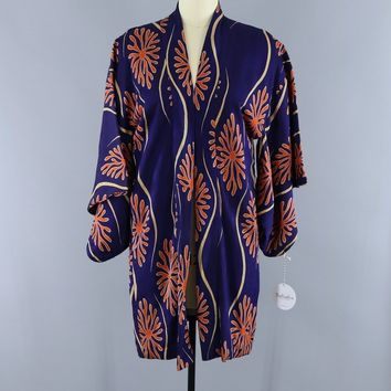 1930s Vintage Silk Haori Kimono Jacket Cardigan / Blue & Orange Coral