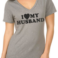 Valentine's Day Gift I Love My Husband T-shirt Womens T shirt Women Slub Jersey V Neck Shirt Gift Wedding Gift T-shirt