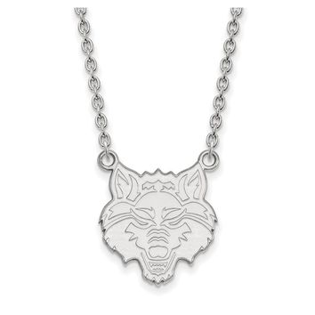 NCAA 14k White Gold Arkansas State Large Pendant Necklace