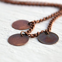Simple Antique Copper Circle Metal Disc  Necklace - Handmade Jewelry - Ready to Ship