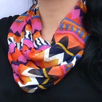Multicolor Infinity Scarf. Chevron Circle Scarf.  Women Accessories