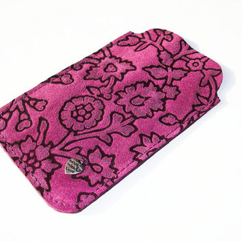Purple Suede Leather Iphone 5 / Iphone 5S Cover, I Phone Sleeve