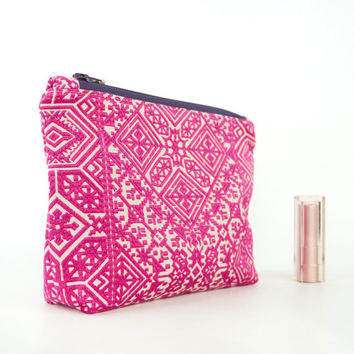 Make-up Cosmetic Bag in Moroccan Style Pink and Silver Embroidered Fabric