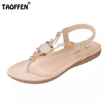 TAOFFEN bohemian beaded women flat sandals clip toe brand quality sandals fashion ladi