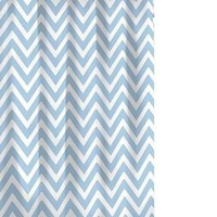 Chevron Shower Curtain White/ Spa Blue